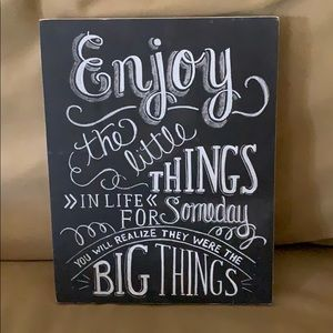 """""""Enjoy the little Things"""" Wooden Sign EUC"""